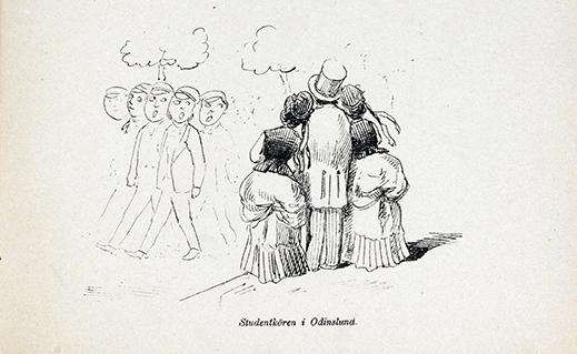 en man och två unga damer tittar på en förbimarscherande studentkör, damerna ser beundrande ut