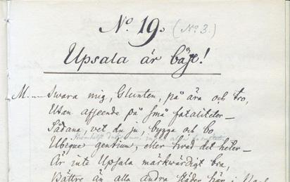 detlaj från ett uppslag med handskriven text som börjar Uppsala är bäst