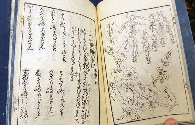 ett bokuppslag med japansk text på vänstra sidan, ett träsnitt med blommor på den högra