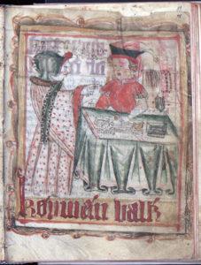 en kvinna i rödprickig klänning handlar av en köpman vid sitt bord