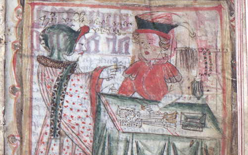 detalj av bild på kvinna vid en köpmans bord