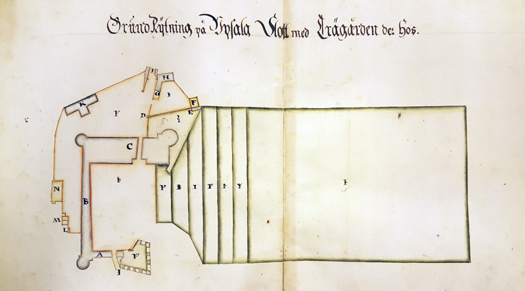 plan över området med slottet och dess trädgårdar