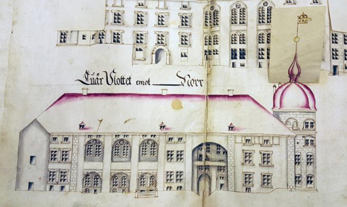 detalj från ritning över slottets fasader
