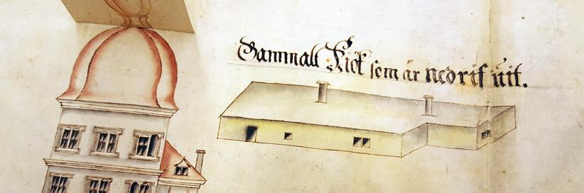 detalj som visar på en låg byggnad utanför slottet