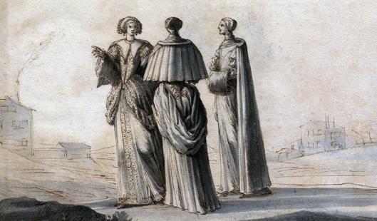 tre adelsdamer i vackra klänningar samtalar