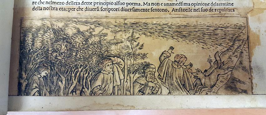 ett smutsat kopparstick, på några män på vandring, varav en blir skrämd av en varg
