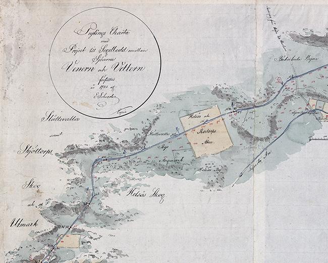 detalj från kartan med kartusch och endel av sträckningen