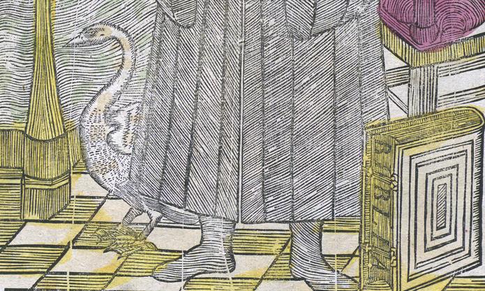 detalj av trycket, där man ser en svan vid luthers fötter