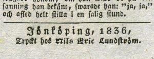 detlaj från trycket där tryckarens namn och årtal  för trycket kan läsas