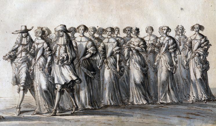 en brud går mellan två herrar, följd av ett följe om tio-tolv kvinnor, alla i vackra klänningar
