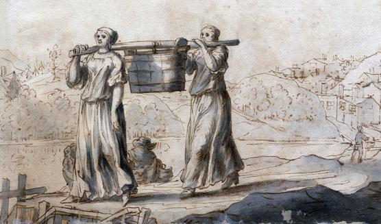 två kvinnor bär en stång mellan sig, under vilket hänger ett ämbar med vatten