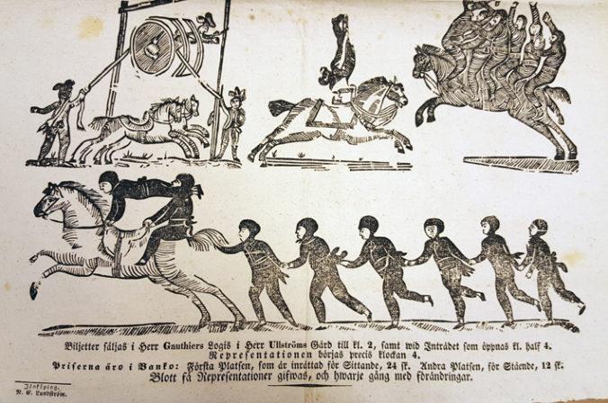 delja från affisch med bilder av akrobater, en del till häst