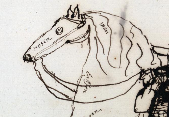 detalj från teckning, ett hästhuvud