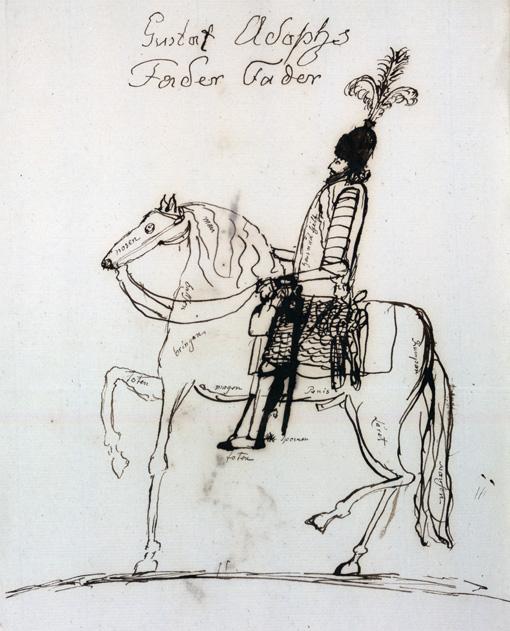 teckning av man till häst