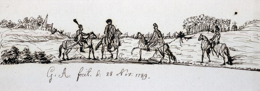 teckning med fyra män till häst på ett fält