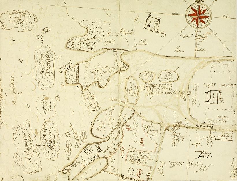 Karta med hus och gränslinjer ritade med barnslig hand