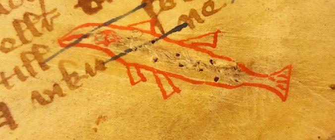lagning i pergament med konturen av en röd fisk omkring