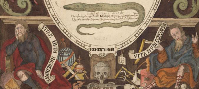 detalj från titelbladet med orm och döskalle