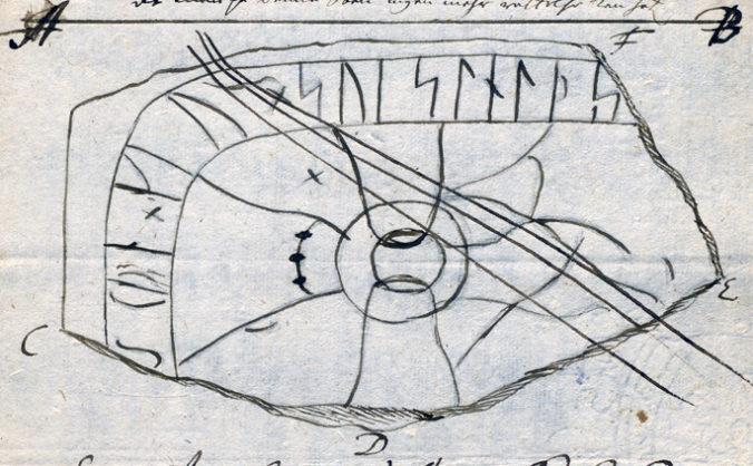 avtecknad runsten i handskrift
