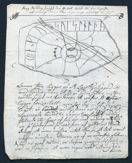 hela sidan ur handskriften där runstenen är tecknad