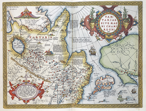 hela kartan över Asien, tryckt i träsnitt och handmålad i glada färger