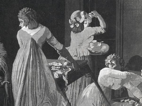detalj från gravyr, där en kvinna hastigt dricker upp det sista kaffet i sin kopp medan en annan dam försöker röja bort spåren av kaffedrickning