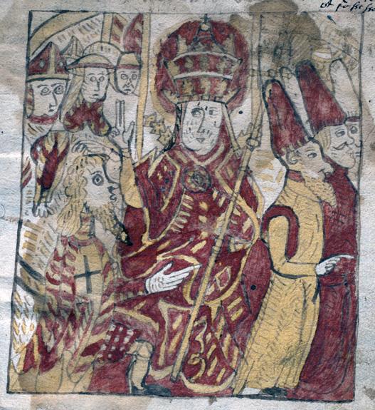 tecknad bild i rött och gult av en man med biskopshatt och kräckla bland män i toppiga hattar