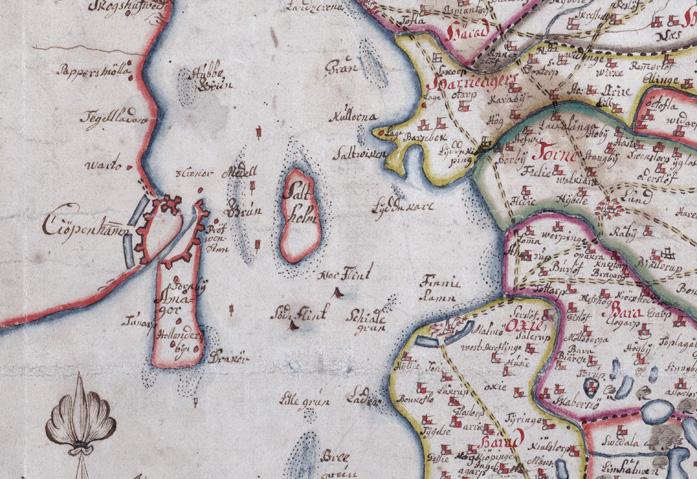 detalj från kartan med området Köpenhamn och Malmö