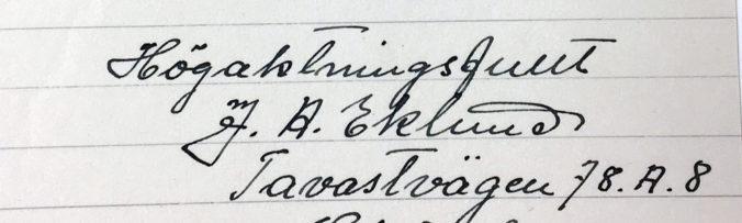 närbild på underskriften av tavelförsäljaren J.A. Eklund