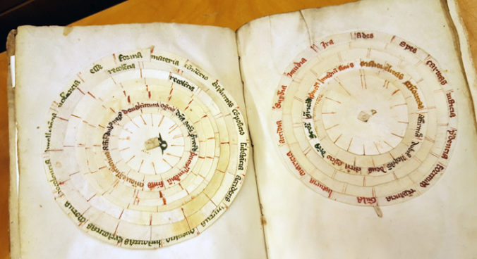 ett uppslag i handskriften med två volveller