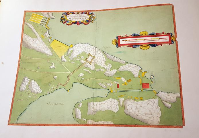 bild på hela kartan, främst målad i grön färg med skansen och byggnader i rött