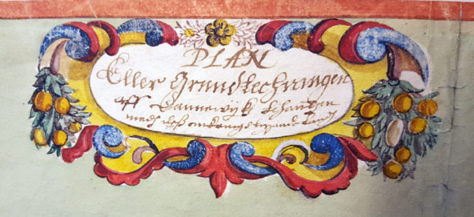 kartans kartousch med titeln Plan eller grundtechningen aff Dannewijkz schantzen med dess omkringh liggande land