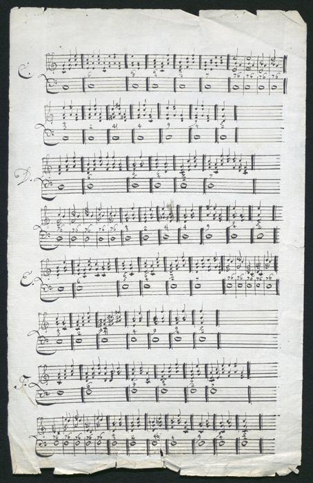 foto på ett stort notblad fullt med handskrivna notrader