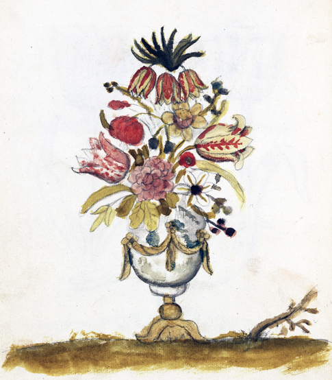 målad urna med blommor