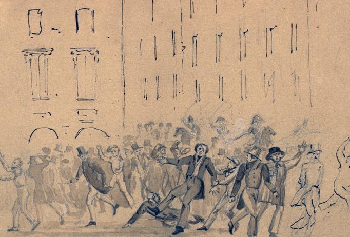 teckning av männsikor i ett upplopp, folk faller och springer över varandra