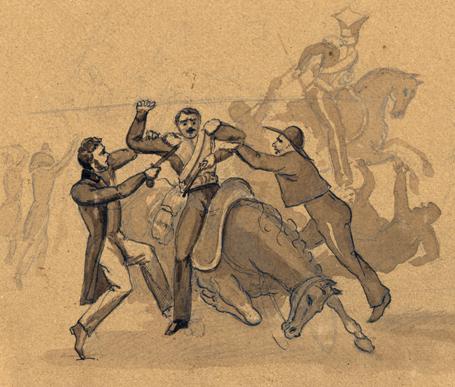 bild från kravaller där två män drar ned en ridande militär från sin häst