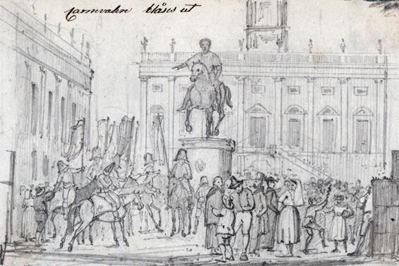 teckning av glada männsikor under karnevalen i Rom 1832