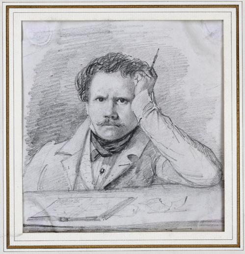 ett självporträtt där en allvarlig ung man lutar huvudet mot en hand med armbågen på bordet framför sig och tittar rakt mot åskådaren