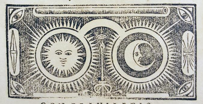 träsnittsdetalj från titelbladet med ett par göasögon med en sol i ena glaset och en måne i den andra