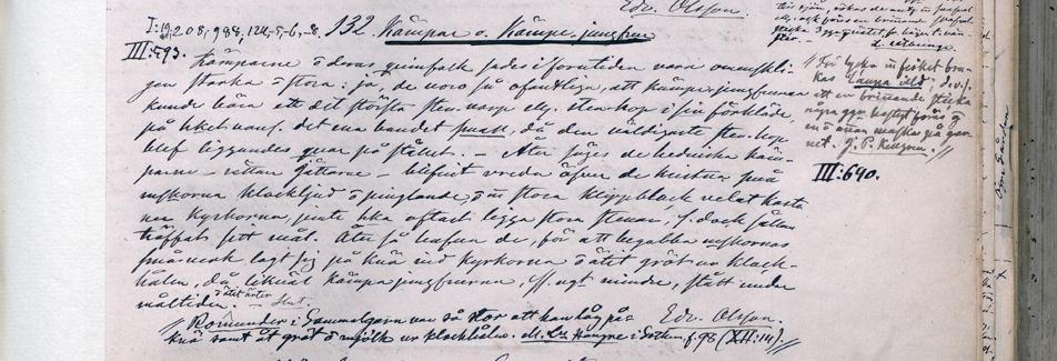 handskrivna rader om kämpar och kämpar-jungfrur av Säves hand