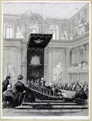 bild på svenska akademiens ledamöter sittande vid ett bord mitt i en festsal med publik runt om. Över bordets ena ände, där Oscar II sitter, hänger en stor baldakin