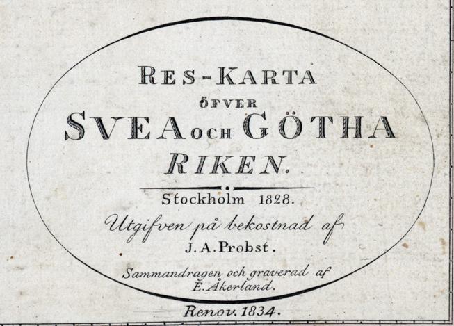 kartousch på karta med titel Res-karta öfver Svea och Göta riken