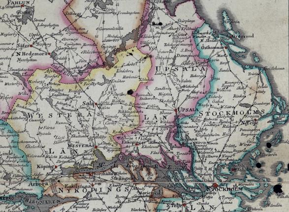 detalj av kartan runt Uppsalatrakten