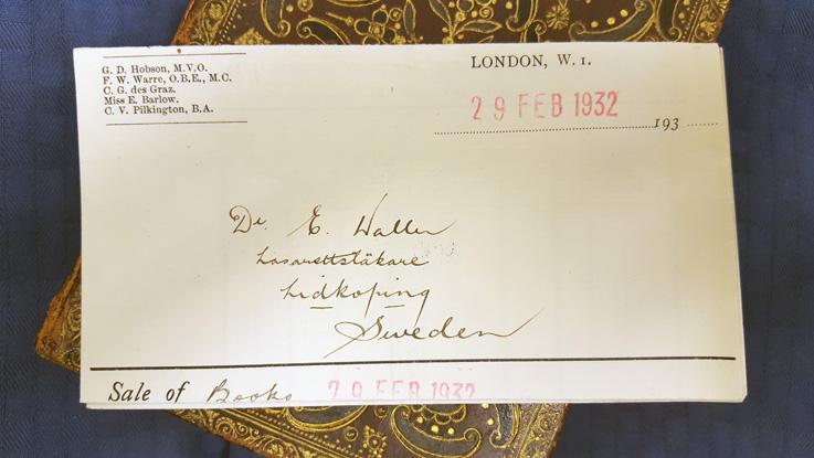 bild på Erik Wallers namn och adress på kvittot från Sothebys