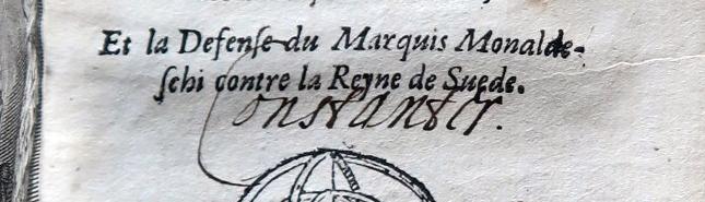 detalj från ett titelblad där ordet Constanter står skrivet för hand
