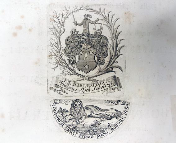 kopparstick med en vapenskälc och under ett liggande lejon