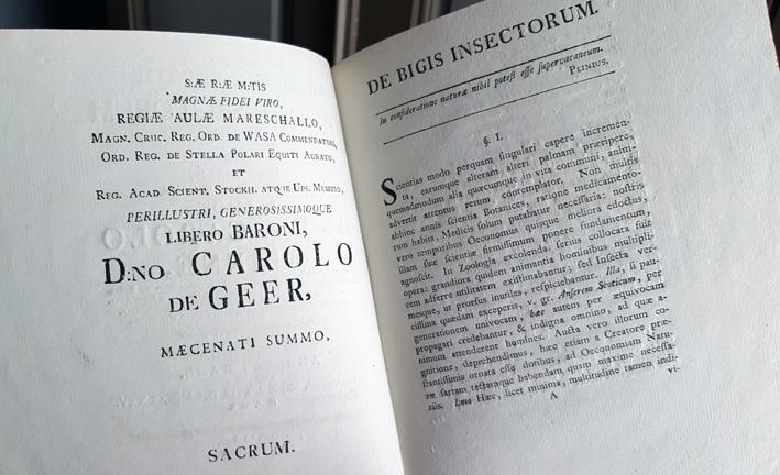 uppsalg med den tryckta hälsnignen till charles de geer och titeln på avhandlingen