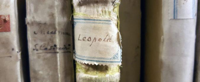 bild på en etikett med ordet Leopold på en sliten bok i en hylla med fler böcker omkring