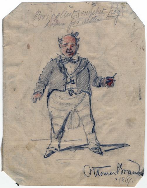 teckning av glad man i frack med glas i handen