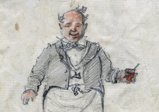 detalj från bild på glad man i frack med ett glas i handen